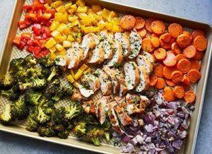 Pollo en sartén cetogénico y verduras arcoiris