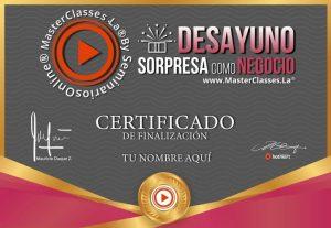 Certificado del curso Desayuno Sorpresa como Negocio